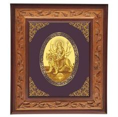 "The word Durga in the ancient Hindu language Sanskrit means ""Durgatinashini"", this literally translates into the one who eliminates sufferings. Thus for auspiciousness here is a royal gold foil royal wall frane of the Goddess. link: http://diviniti.co.in/en/maa-durga"