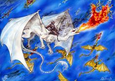 A Fall scene with Ruth, with Jaxom on his back, surging into the fore to sear the Thread from the Ruathan skies. Ruth is flying with a queens wing: the golden dragons in the background have riders operating flamethrowers. A fighting scene that is executed excellently.  © Copyright by Doknar.