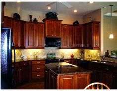 "Cherry Kitchen Cabinets Black Granite traditional tuesday"" kitchen of the day: beautiful cherry cabinets"