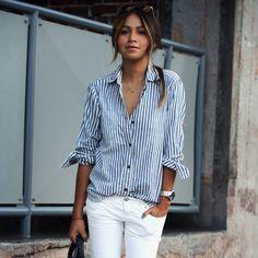 Listrado vertical à moda das senhoras Mulheres Collar Vire-down Camisa Casual Blusa