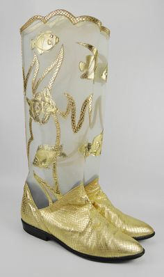 Vintage ZALO Womens Boots Under the Sea -- Golden Fish - Leather and Mesh (About Size 6.5, 7 or 7.5). $149.00, via Etsy.