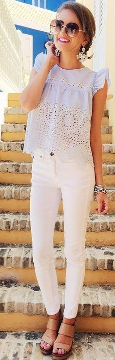 #summer #preppy #outfits |  Light Blue Laser Cut Top + White Jeans
