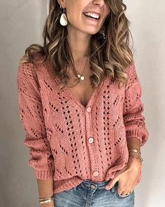 Sleeve Length:Long Sleeve Necklace:V-Neck Pattern:Solid Material:Polyester,Cotton Blend Season:Fall,Winter Occasion:Daily,Casual V Neck Cardigan, Knit Cardigan, Cardigan Sweaters, Long Sleeve Sweater, Casual Sweaters, Long Sweaters, Knit Fashion, Crochet Lace, Crochet Shrugs
