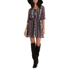 667a0bab559 Charlotte Russe Black Combo Caged-Back Tribal Print Dress by Charlotte... (