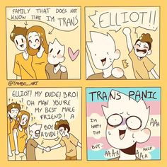 ftm art ~ ftm + ftm haircut + ftm tips + ftm before and after + ftm art + ftm memes + ftm problems + ftm fashion Touko Pokemon, Transgender Ftm, 4 Panel Life, Trans Boys, Trans Art, Lgbt Memes, Online Comics, Lgbt Community, Cute Gay