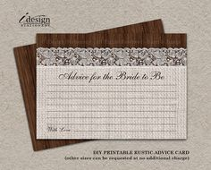 Rustic Wedding Advice Cards For The Bride by iDesignStationery - $4.95  #Rustic #WeddingAdviceCards #BridalShower #AdviceForTheBride #Etsy