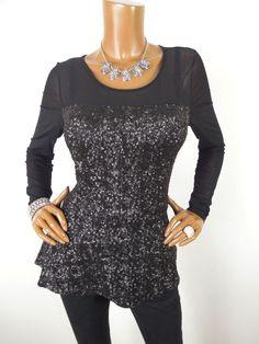 f18f5ec6c85 INC Womens Top M Black Shirt Stretch SEXY Floral Mesh Lined Sheer Long  Sleeves