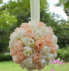 """MIC 5"""" Ivory and blush Kissing Ball Pomander Flowers Crystal Pew Bows Ball Wedding Party Supplies 0506"""
