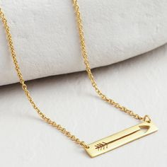 Gold Arrow Bar Necklace | World Market