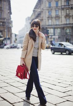 flared jeans, striped shirt by Carrie WishWishWish, via Flickr