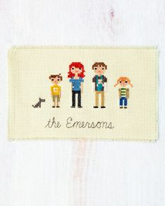 Cross-Stitch Family Portrait. What about a wedding portrait that is displayed at the venue and then our home. A wedding keepsake?