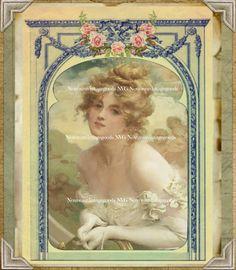 Vintage Romantic Victorian Woman Portrait Artwork Print Digital Download & Digital Collage Sheet Vintage Scrapbook Supply French Décor by NouveauVintageGoods on Etsy