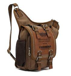 875a39c914da Mens Boys Vintage Canvas Shoulder Military Messenger Bag Sling school Bags