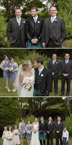 I love how the bridesmaid dresses don't match the kilt colors exactly.