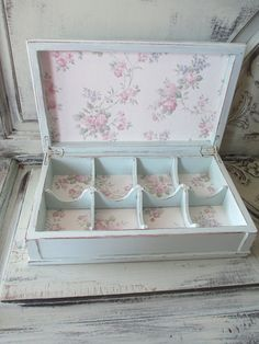Tea Box - Jewelry Box - Hand Painted - Tea Party or could use as your hand made soap storage Jewellery Boxes, Jewelry Box, Nice Jewelry, Cigar Box Crafts, Decoupage Box, Shabby Chic Crafts, Pretty Box, Altered Boxes, Vintage Diy