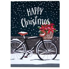 A cheery bicycle basket overflowing with poinsettias captures the fun and excitement of Christmas day. front greeting: happy christmas inside greeting: have a fun-filled holiday season DETAILS - singl