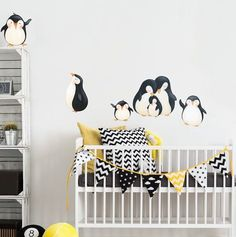Penguins at Play Fabric Wall Decals