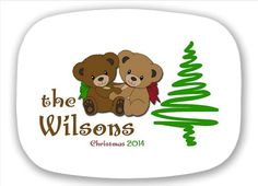 PLATTER Christmas Teddy Bears Melamine by LimeNCoconutDesigns on Etsy.  Choose your Tree and Font style.