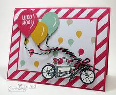 Pedal Pusher Happy Birthday by Jari - Cards and Paper Crafts at Splitcoaststampers Up Balloons, Birthday Balloons, Ballons, Happpy Birthday, Bicycle Cards, Petal Pushers, Bday Cards, Hand Stamped Cards, Stamping Up Cards