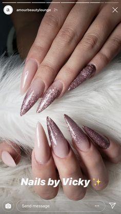 Nail Shapes - My Cool Nail Designs Classy Nails, Stylish Nails, Trendy Nails, Cute Nails, Hair And Nails, My Nails, Nagel Gel, Pink Nails, Stiletto Nails Glitter