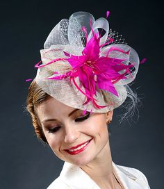 84654ed9fe44f Ivory+fascinator+hat+with+fuschia+feather+flower+in+by+MargeIilane