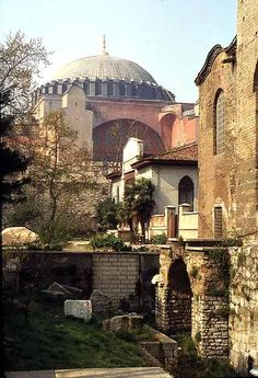 The Haghia Sophia seen from the Church of Haghia Eirene.  The minarets are not in view. Istanbul, TURKEY.