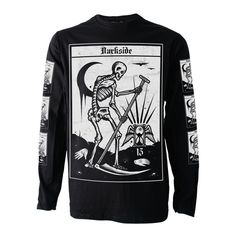 DEATH TAROT CARD Long Sleeve T SHIRT Top Biker Goth Metal Satan Occult Darkside