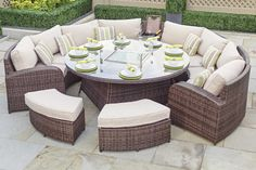 ARC 14   HALF MOON RATTAN SOFA SET WITH GAS FIREPIT DINING TABLE