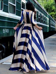 Stylish Stripe Tight Waist Slim Maxi Chiffon Dress