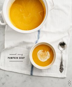 Creamy, spicy pumpkin soup made with coconut milk and red curry. Vegan and gluten free.