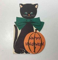 Vintage Halloween Card Inky Cat Black Halloween Kitten by Norcross New York