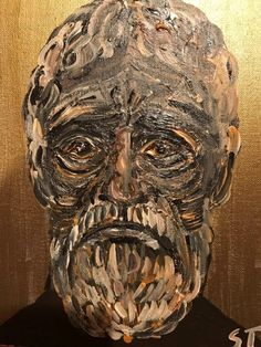 'Native Australian man.' Acrylics on canvass.