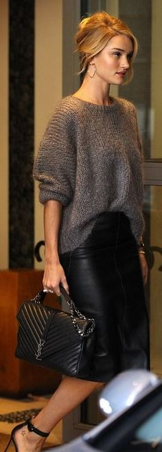 Rosie Huntington-Whiteley: Bracelet – Anita Ko  Skirt – Marks and Spencer  Purse – Saint Laurent  Shoes – Gianvito Rossi