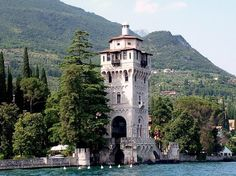 The lighthouse in Gardone Riviera town in the province of Brescia,Italy