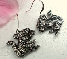 Silver Squirrel Earrings Animal Jewelry Wildlife Jewelry, Charm Jewelry, Farm Animal Jewelry. $13.00 USD, by CharmAccents.