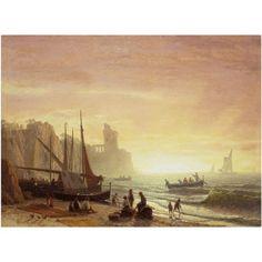 Trademark Fine Art The Fishing Fleet 1862 Canvas Art by Albert Bierstadt, Size: 14 x 19, Multicolor