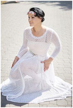 """Handmade crochetwedding dress / Платье женское """"По мотивам Чехова..."""" - белый, однотонный, платье, платье женское"""