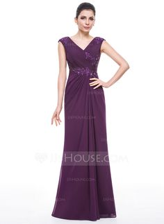 Trumpet/Mermaid V-neck Floor-Length Chiffon Mother of the Bride Dress With Ruffle Beading Appliques Lace Sequins (008058423)