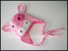 Strawberry Milk Cow crochet earflap hat with braids by superflyhel, $23.00