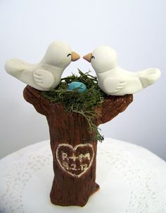 Items similar to Love Bird Wedding Cake Topper - Tree Topper with Nest - Carved Initials and Date - Home Decor - Colors of Choice on Etsy Home Decor Colors, Colorful Decor, Wedding Cake Toppers, Wedding Cakes, Love Birds Wedding, Tree Toppers, Wedding Inspiration, Wedding Ideas, Carving