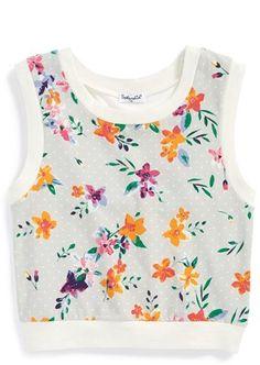 Splendid Floral & Dot Print Crop Tank Top (Big Girls)