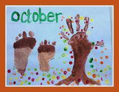 Our Handprint and Footprint Calendar - Andrea Dekker Baby Crafts, Crafts For Kids, Christmas Crafts, Calender Print, Quilted Christmas Gifts, Footprint Crafts, Homemade Art, Boy Quilts, 21st Gifts