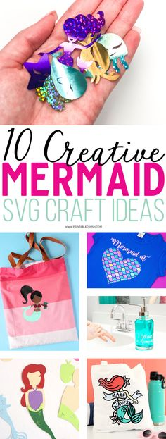 I've rounded up 10 Creative Mermaid SVG File Ideas using graphics from the latest FreshCut SVG Bundle that will be perfect for parties, vinyl projects, home decor, and more!