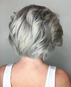 Medium Layered Silver Hairstyle