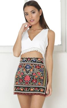 5bb6202762 Hips Dont Lie skirt in black embroidery SHOWPO Fashion Online Fashion  Online