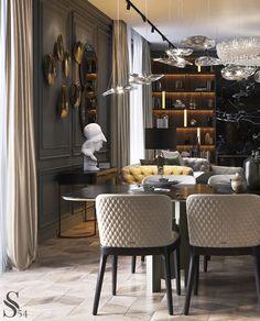 Portfolio: Apartment at Kutuzovsky Avenue Living Room Interior, Home Interior, Living Room Decor, Luxury Dining Room, Beautiful Dining Rooms, Luxury Home Decor, Cheap Home Decor, Grey Interior Design, Luxury Furniture