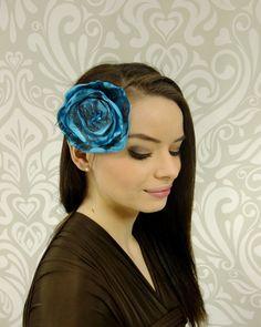 ON SALE, Boho Headband, Flower Headband, Flower Hair Sash, Boho Accessory, Ocean Blue Flower Hair Sash, Brown Lace, Shabby Chic by RuthNoreDesigns on Etsy