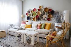 Dining Room:Modern Natalie Fuglestvelt Living Room Showing White Fabric Sofa Stunning Dinner Plate Decoration in Random but Beautiful Order