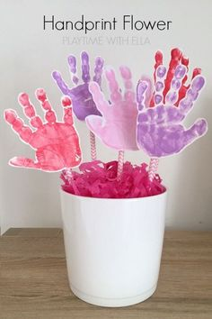 Easy Handprint Flower Pot Craft for Mothers Day