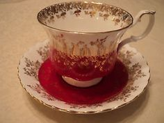 """VINTAGE ROYAL ALBERT """"REGAL SERIES"""" RED WITH GOLD GILT TEA CUP AND SAUCER SET"""